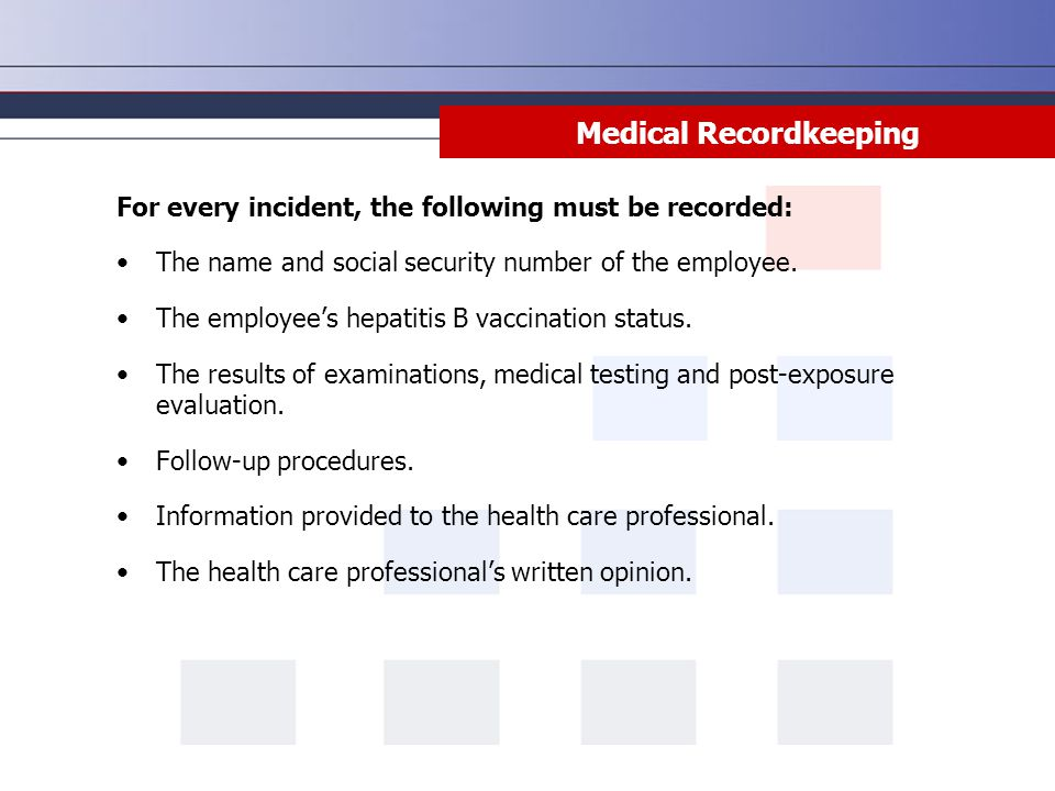 Medical Recordkeeping