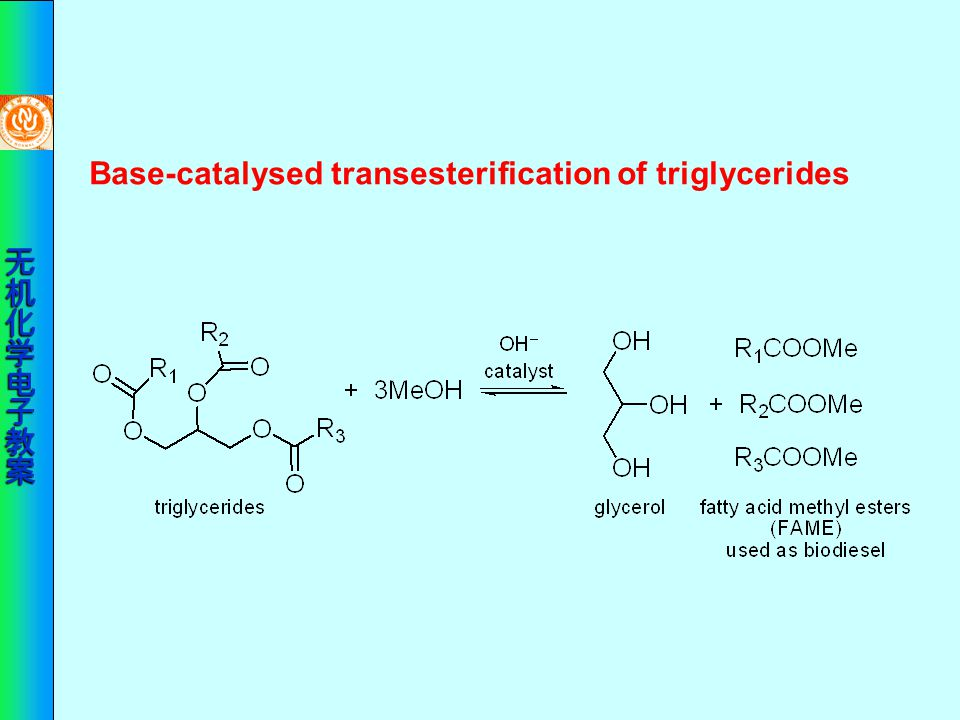 Base-catalysed transesterification of triglycerides