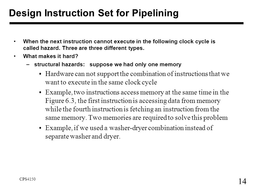 Design Instruction Set for Pipelining
