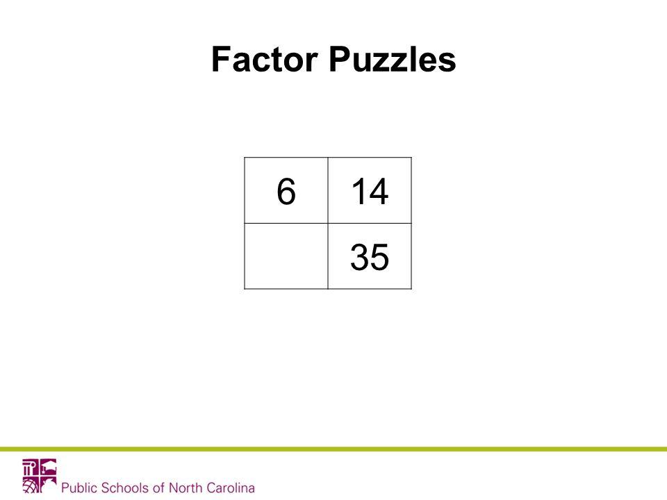Factor Puzzles 6 14 35