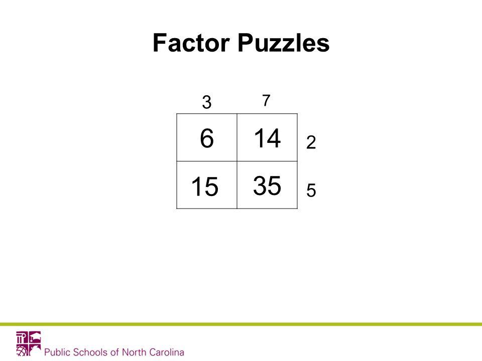 Factor Puzzles 3 7 6 14 35 2 15 5
