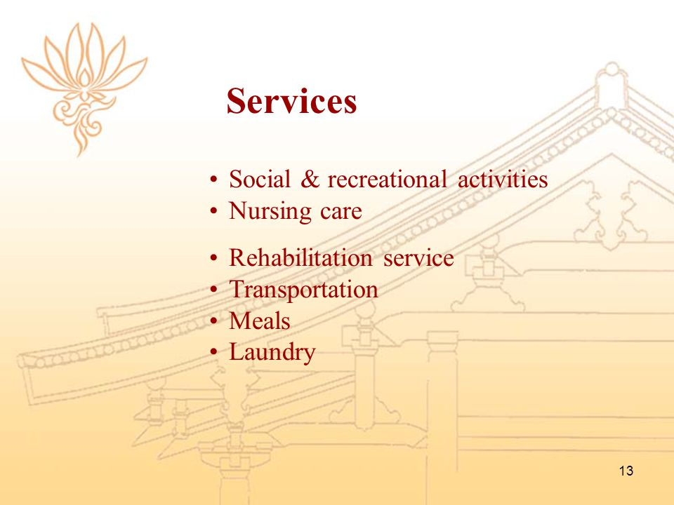 Services Social & recreational activities Nursing care