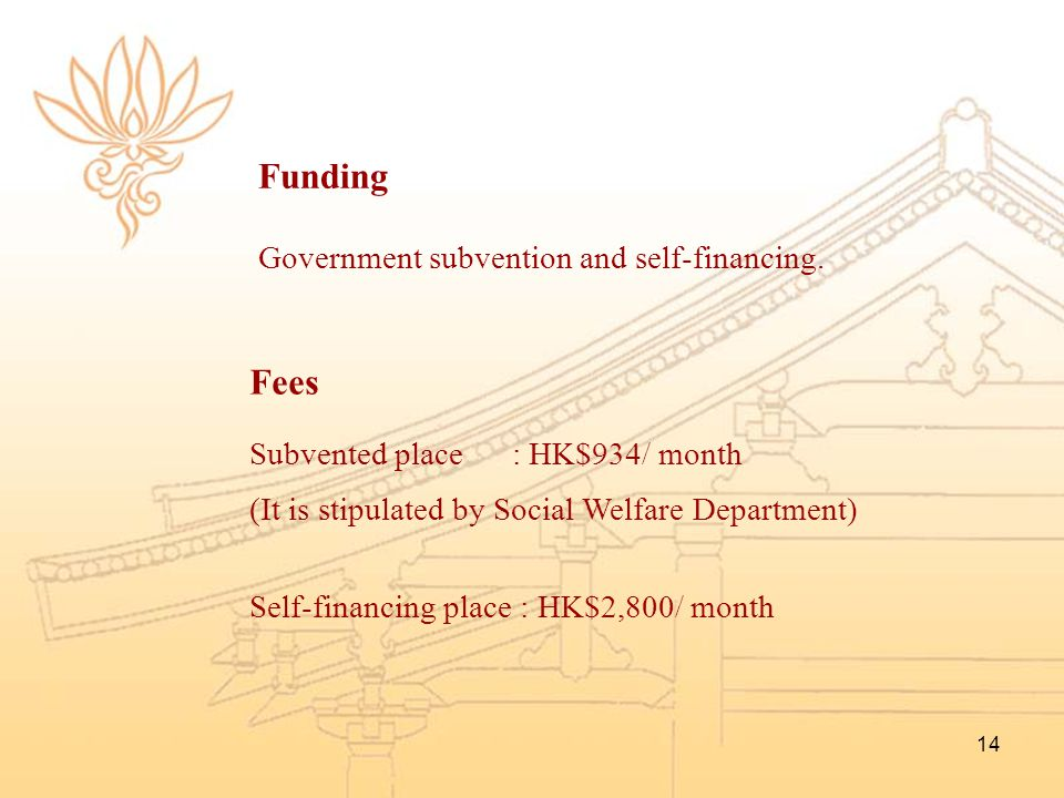Funding Fees Government subvention and self-financing.