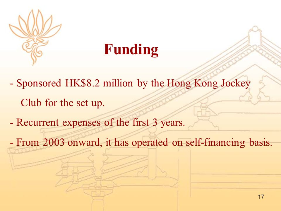 Funding Sponsored HK$8.2 million by the Hong Kong Jockey
