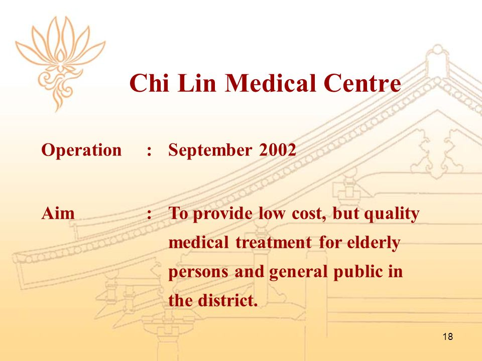 Chi Lin Medical Centre Operation : September 2002 Aim