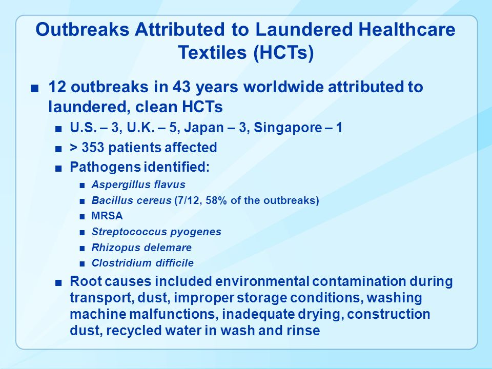 Outbreaks Attributed to Laundered Healthcare Textiles (HCTs)