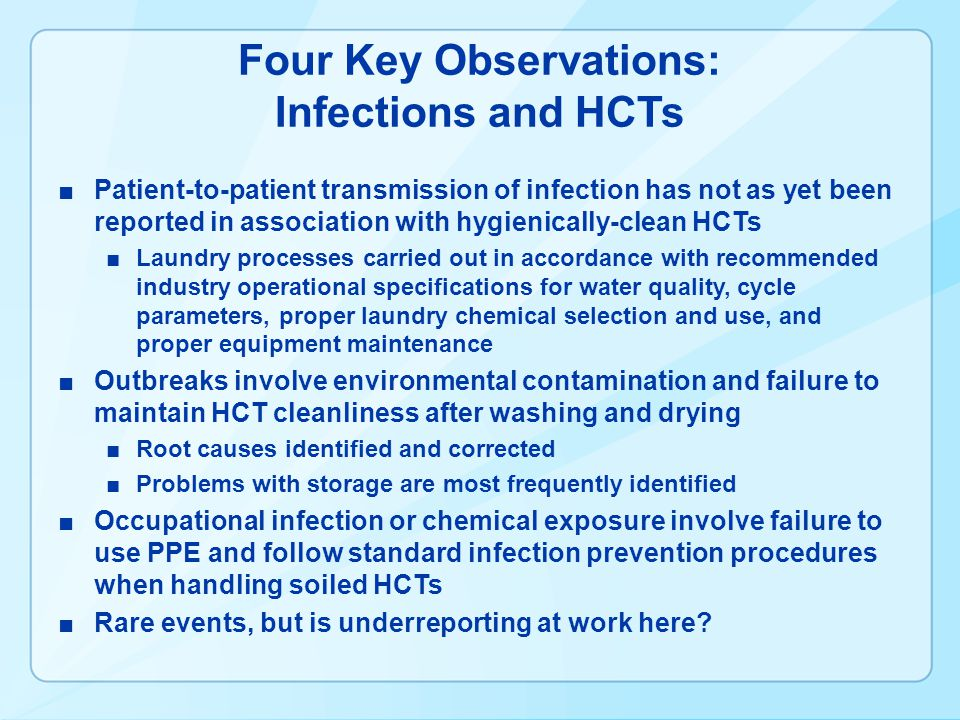 Four Key Observations: Infections and HCTs