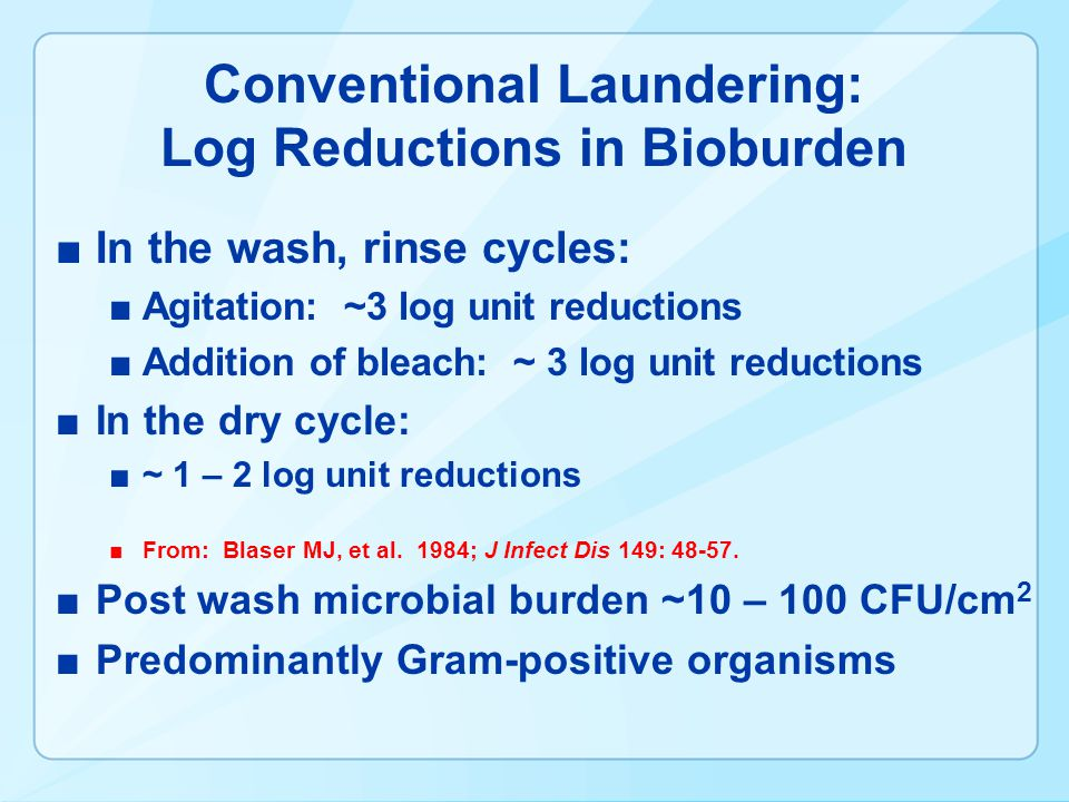 Conventional Laundering: Log Reductions in Bioburden