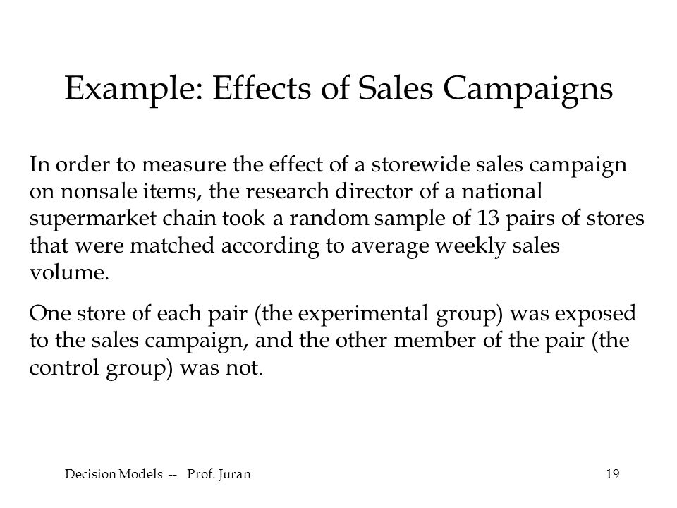 Example: Effects of Sales Campaigns