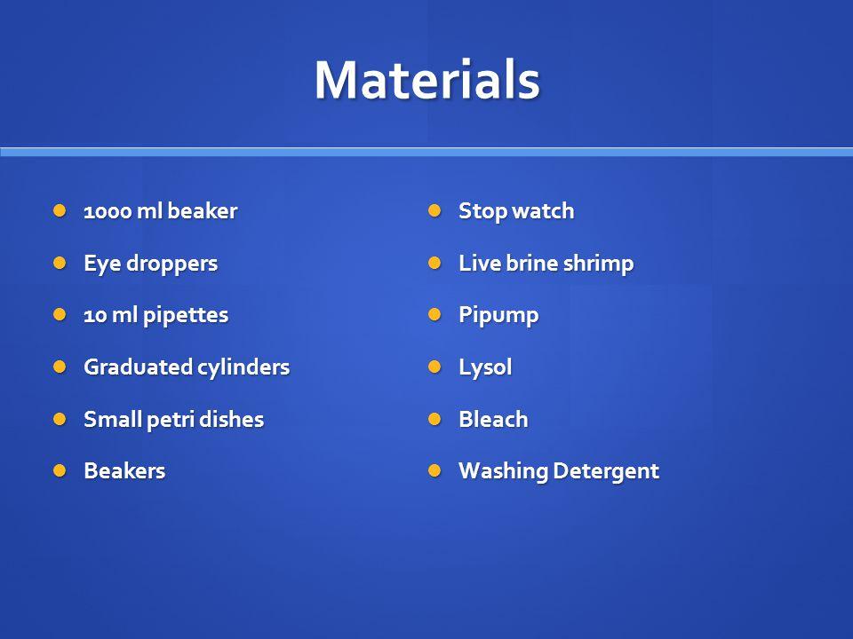 Materials 1000 ml beaker Stop watch Eye droppers Live brine shrimp