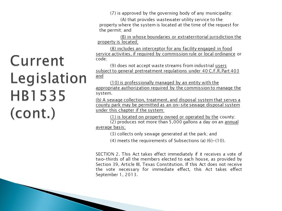 Current Legislation HB1535 (cont.)