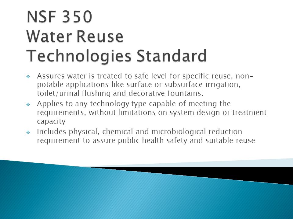 NSF 350 Water Reuse Technologies Standard