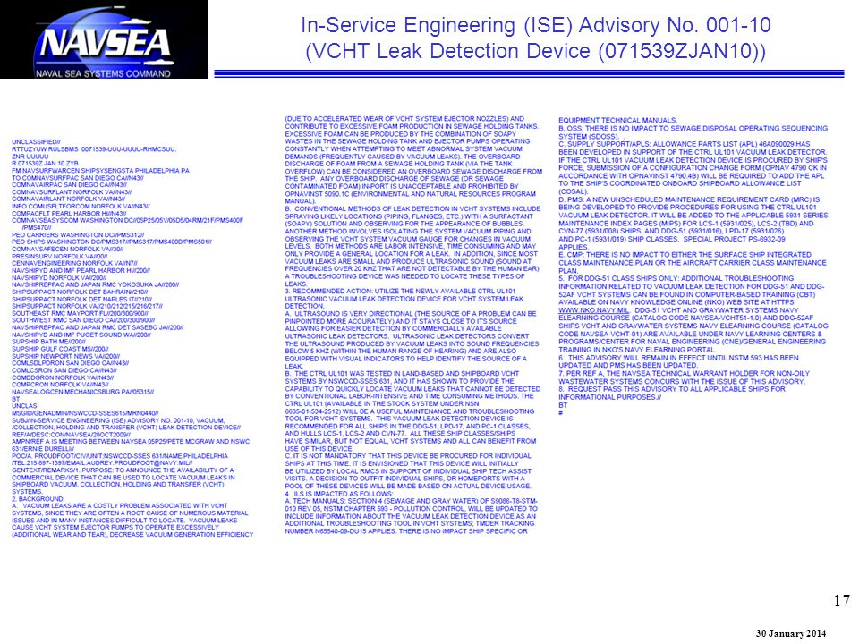 In-Service Engineering (ISE) Advisory No