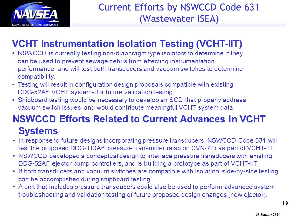 Current Efforts by NSWCCD Code 631 (Wastewater ISEA)