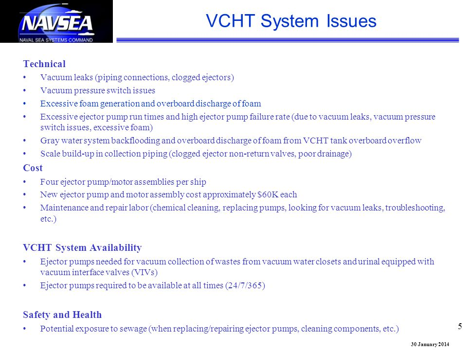 VCHT System Issues Technical Cost VCHT System Availability