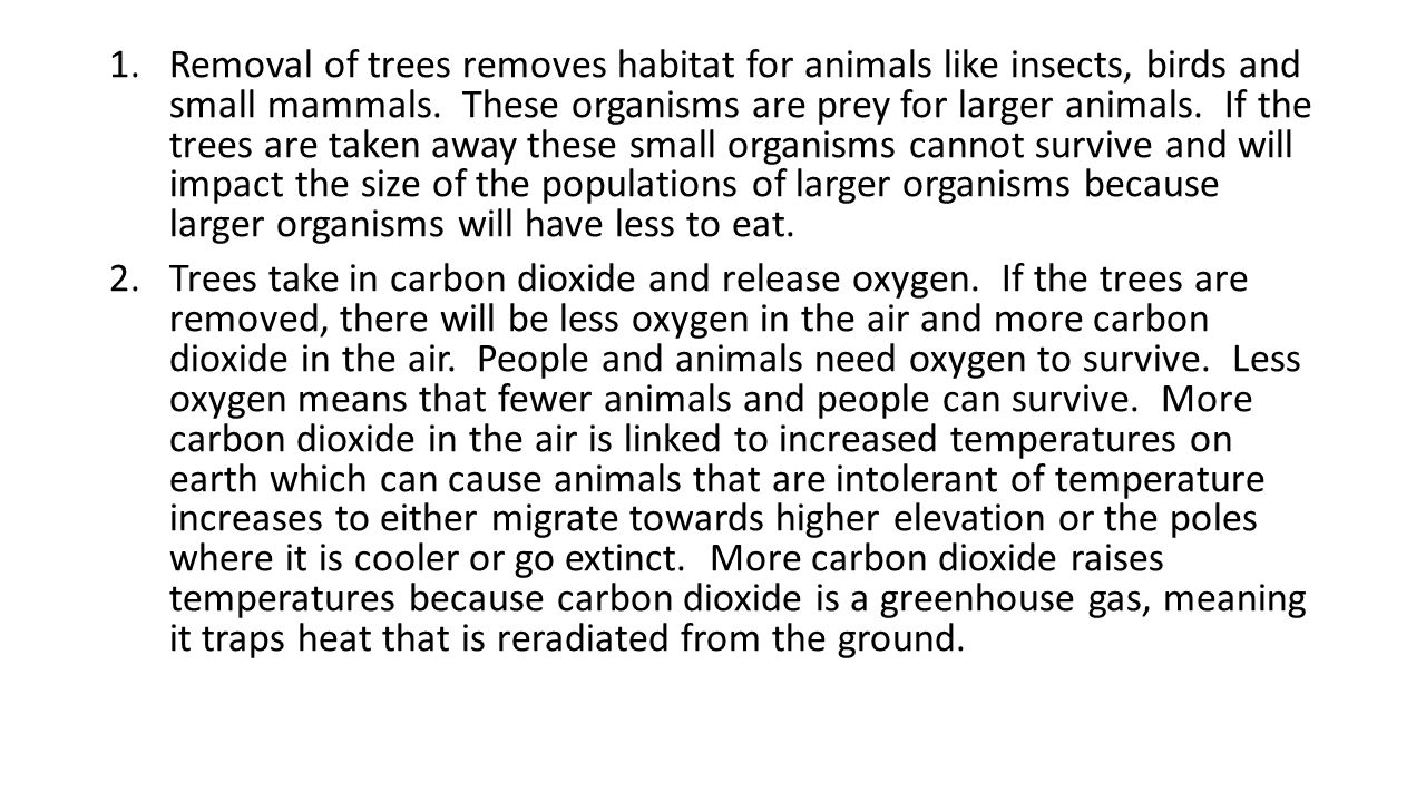 Removal of trees removes habitat for animals like insects, birds and small mammals. These organisms are prey for larger animals. If the trees are taken away these small organisms cannot survive and will impact the size of the populations of larger organisms because larger organisms will have less to eat.