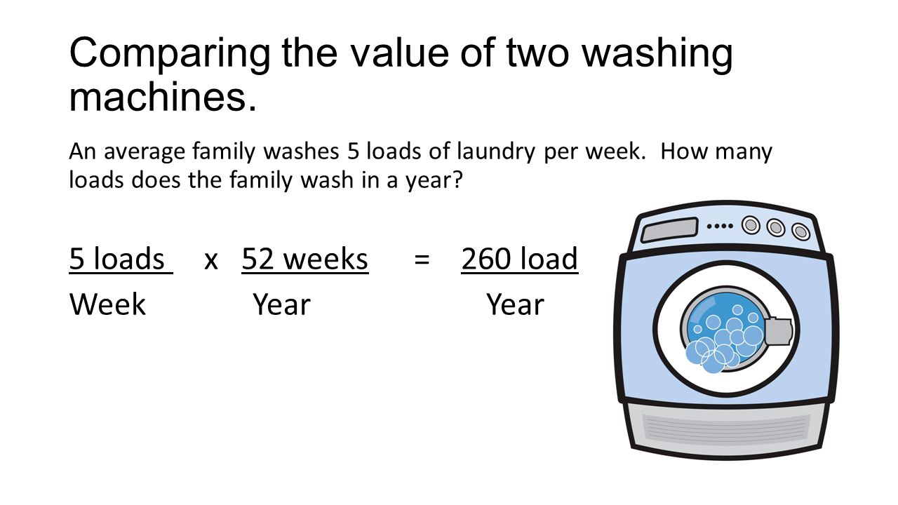 Comparing the value of two washing machines.