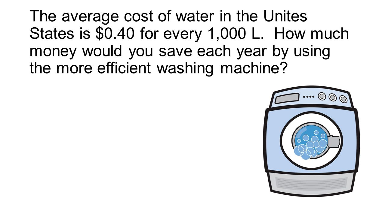 The average cost of water in the Unites States is $0