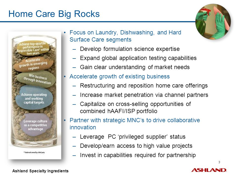 Home Care Big Rocks Focus on Laundry, Dishwashing, and Hard Surface Care segments. Develop formulation science expertise.