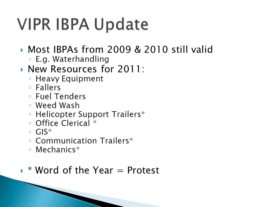 VIPR IBPA Update Most IBPAs from 2009 & 2010 still valid