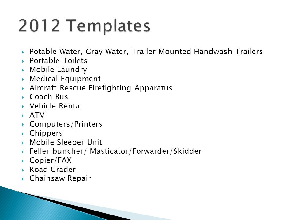 2012 Templates Potable Water, Gray Water, Trailer Mounted Handwash Trailers. Portable Toilets. Mobile Laundry.