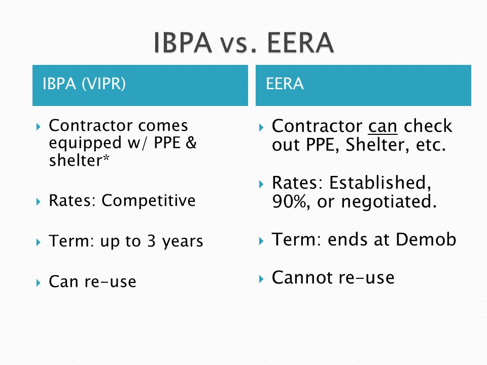 IBPA vs. EERA Contractor can check out PPE, Shelter, etc.