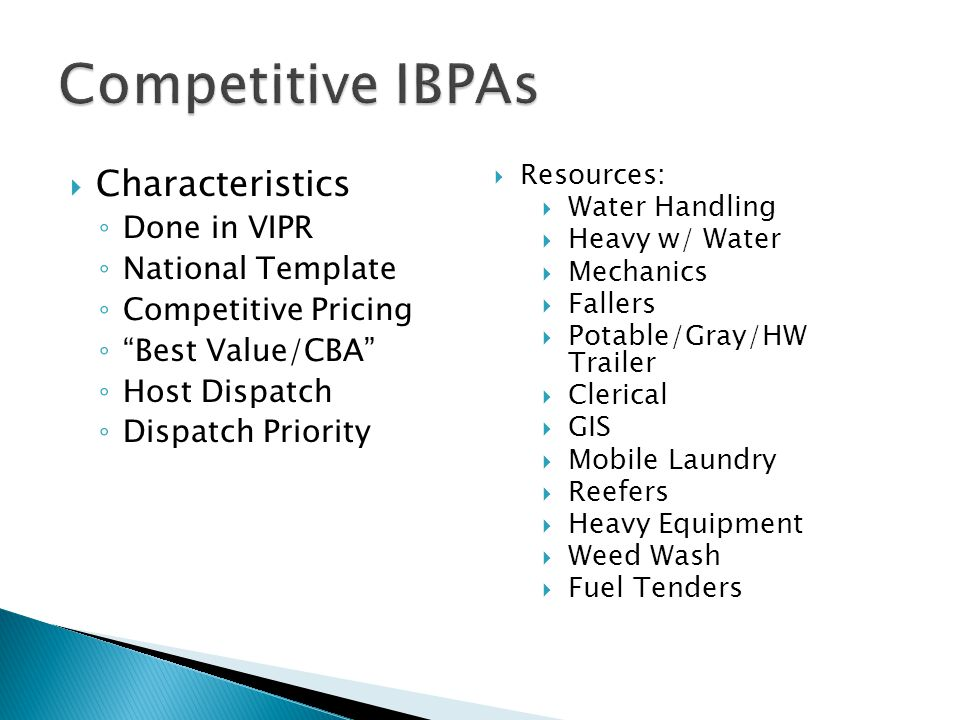 Competitive IBPAs Characteristics Done in VIPR National Template