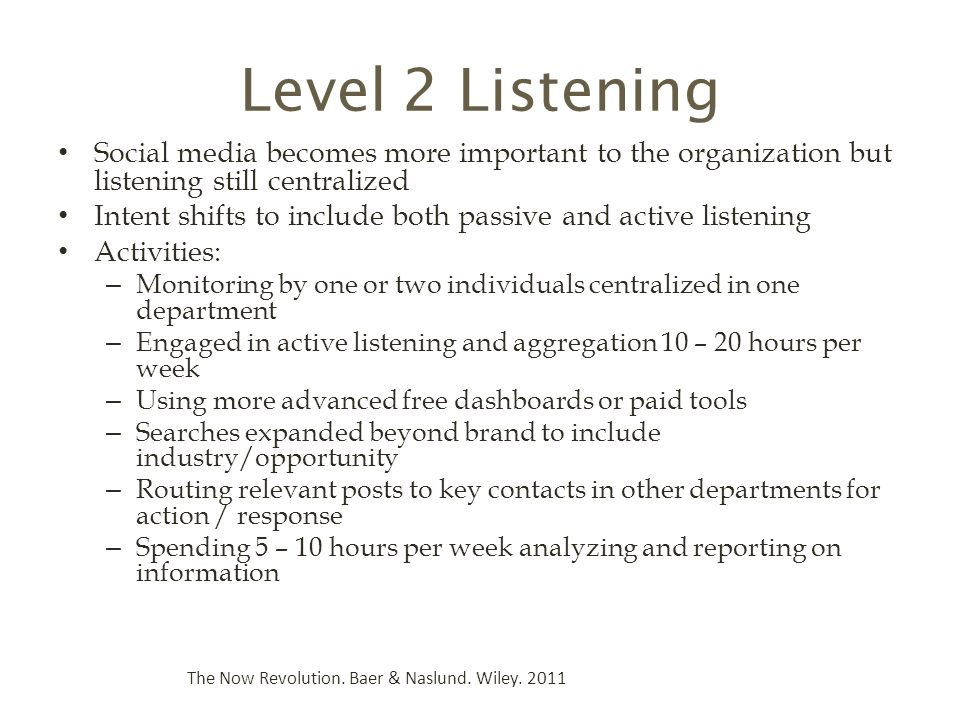 Level 2 Listening Social media becomes more important to the organization but listening still centralized.