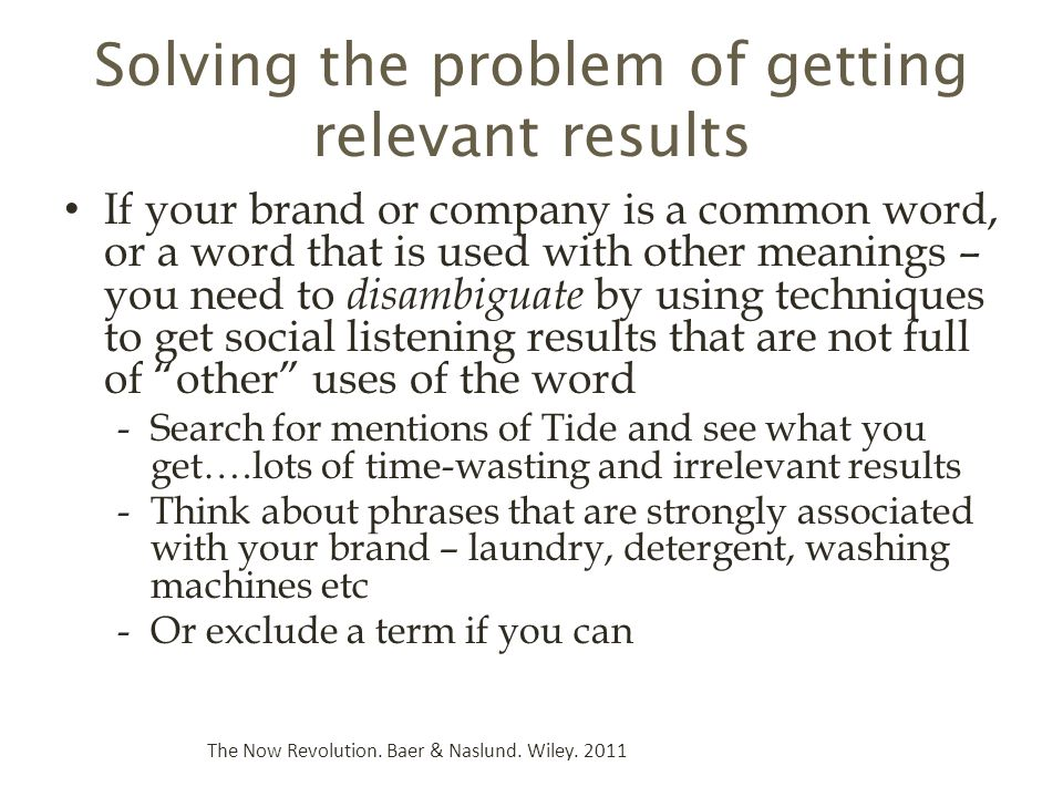 Solving the problem of getting relevant results
