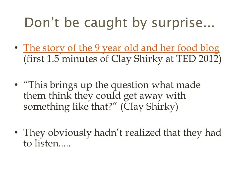 Don't be caught by surprise...