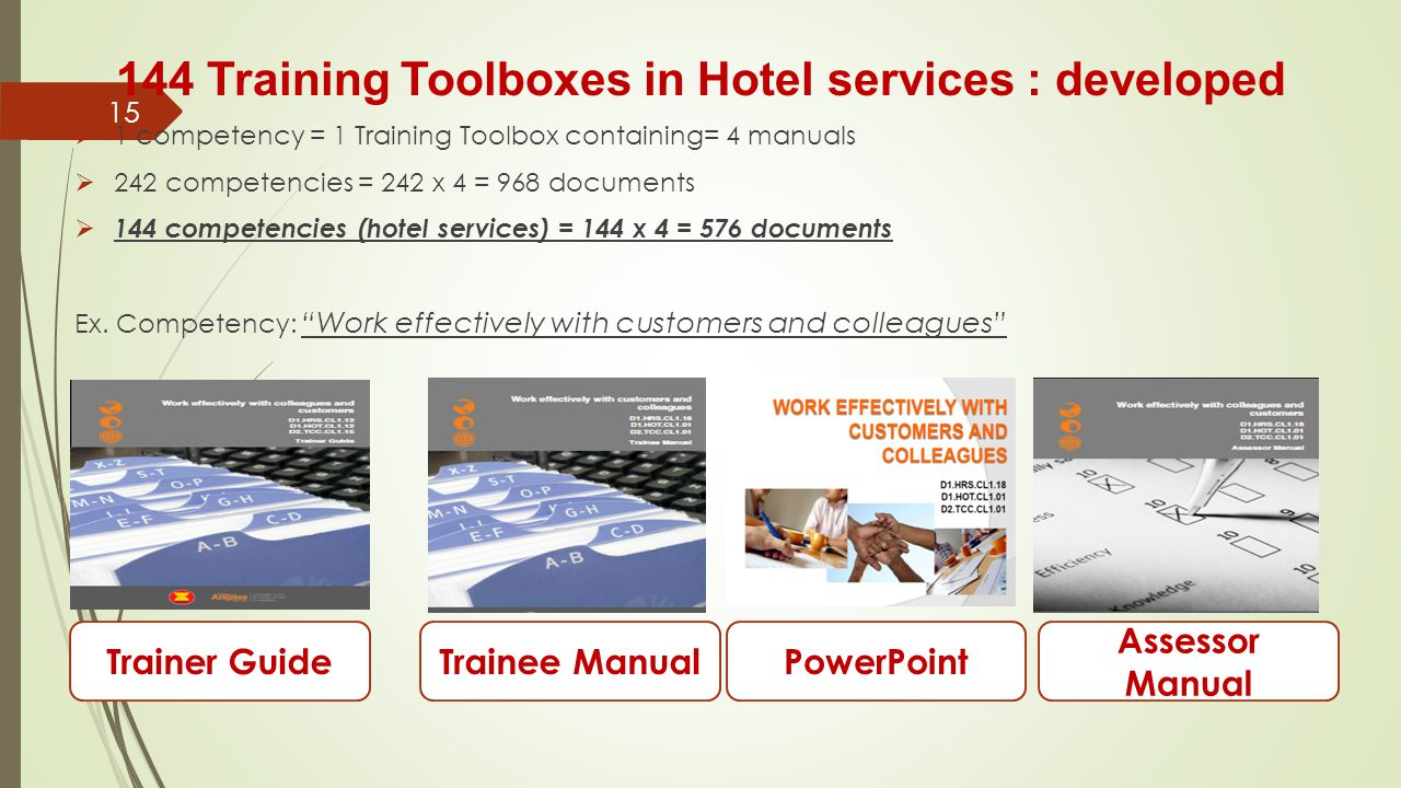 144 Training Toolboxes in Hotel services : developed