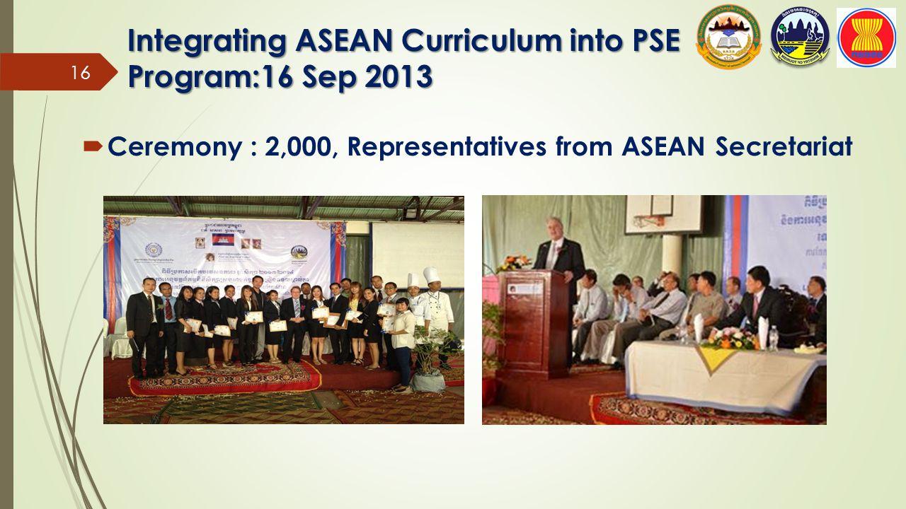 Integrating ASEAN Curriculum into PSE Program:16 Sep 2013