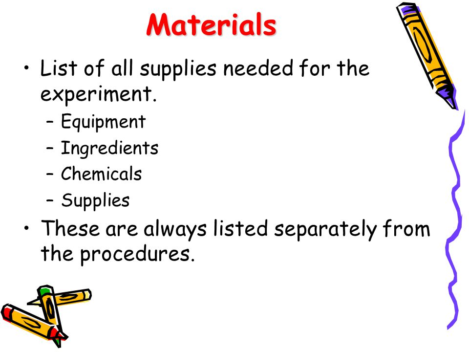 Materials List of all supplies needed for the experiment.