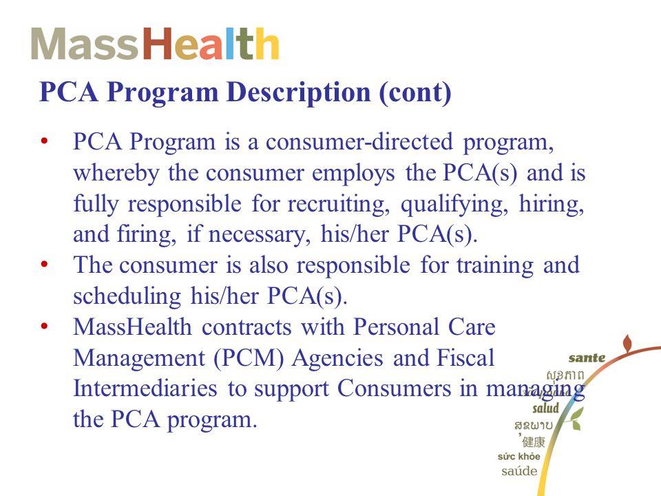 PCA Program Description (cont)
