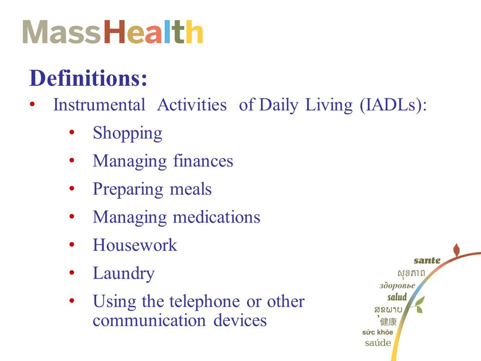 Definitions: Instrumental Activities of Daily Living (IADLs): Shopping