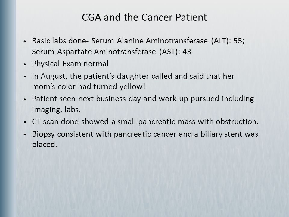 CGA and the Cancer Patient