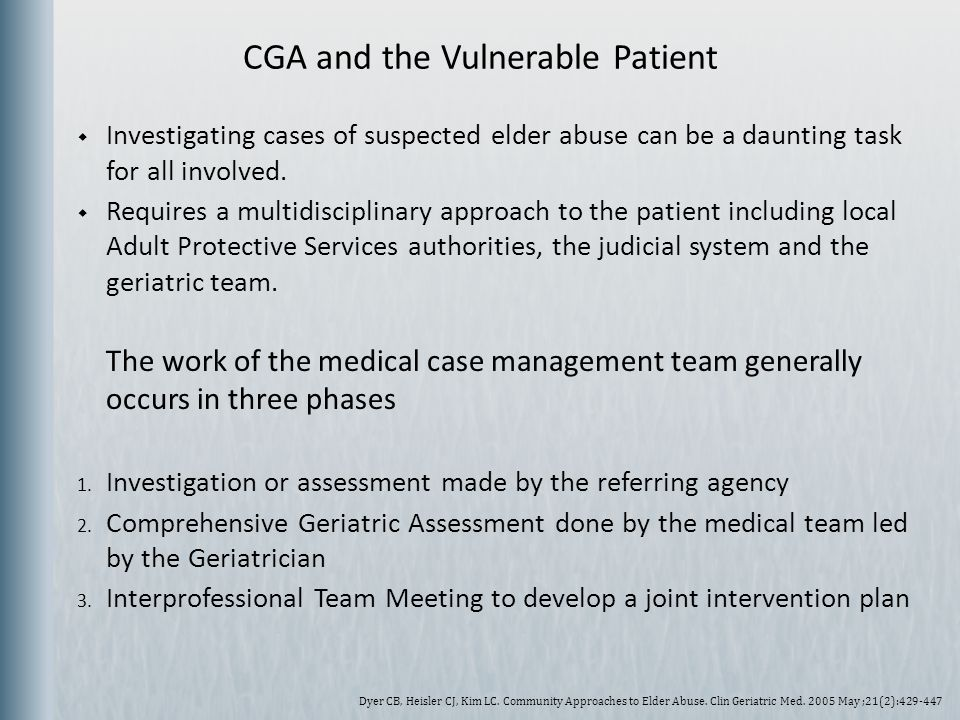 CGA and the Vulnerable Patient