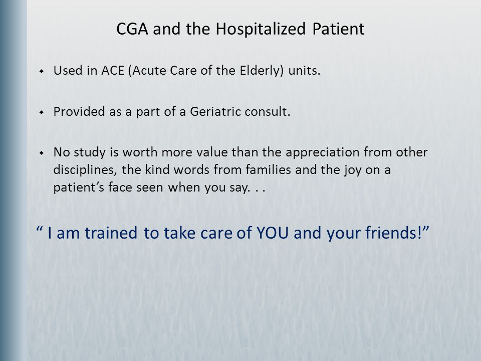 CGA and the Hospitalized Patient
