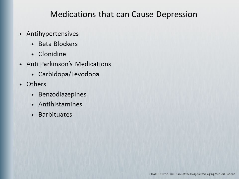 Medications that can Cause Depression
