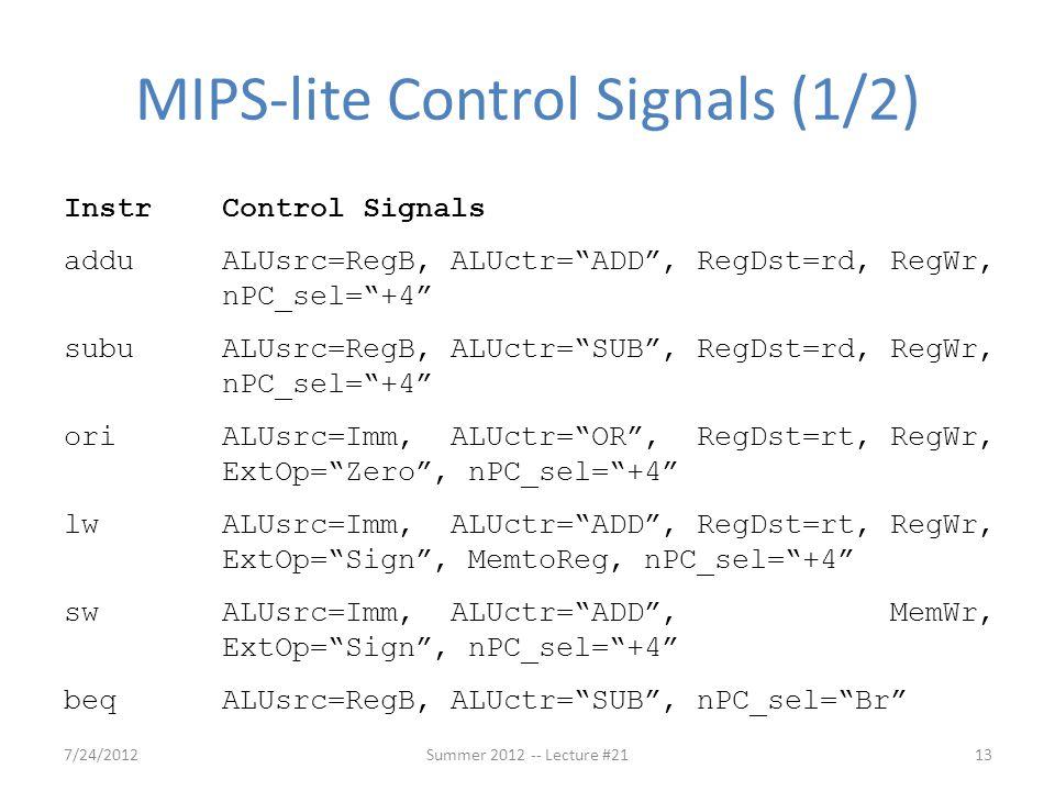 MIPS-lite Control Signals (1/2)