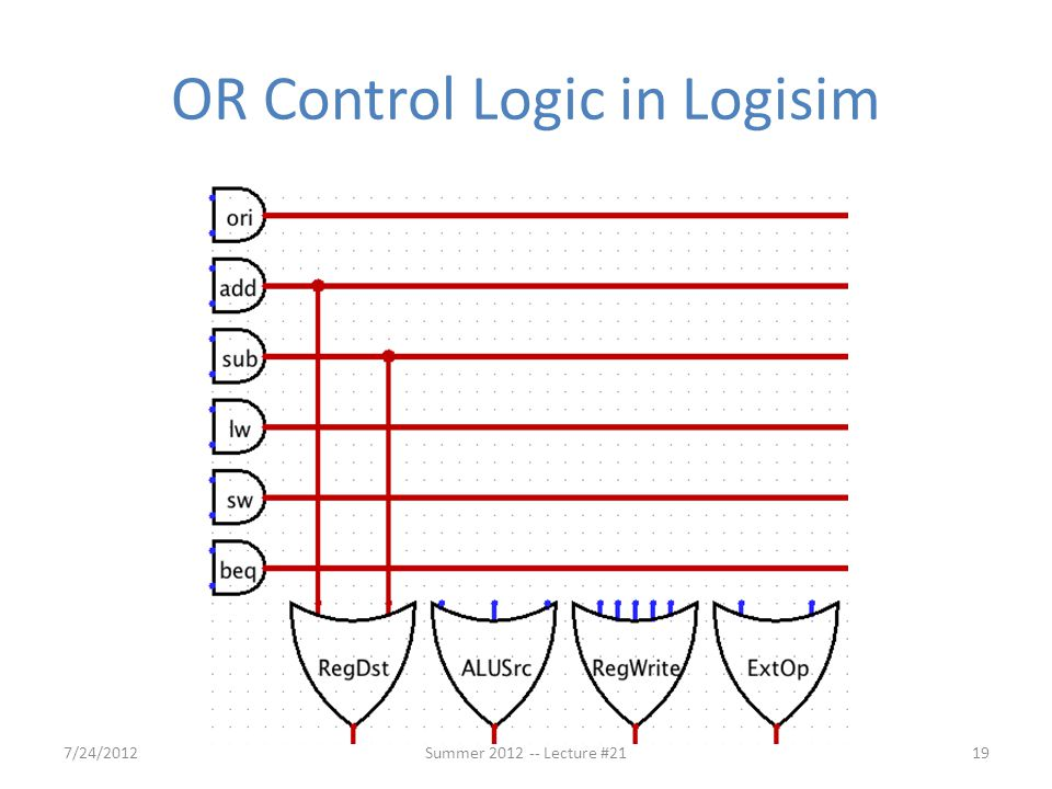 OR Control Logic in Logisim