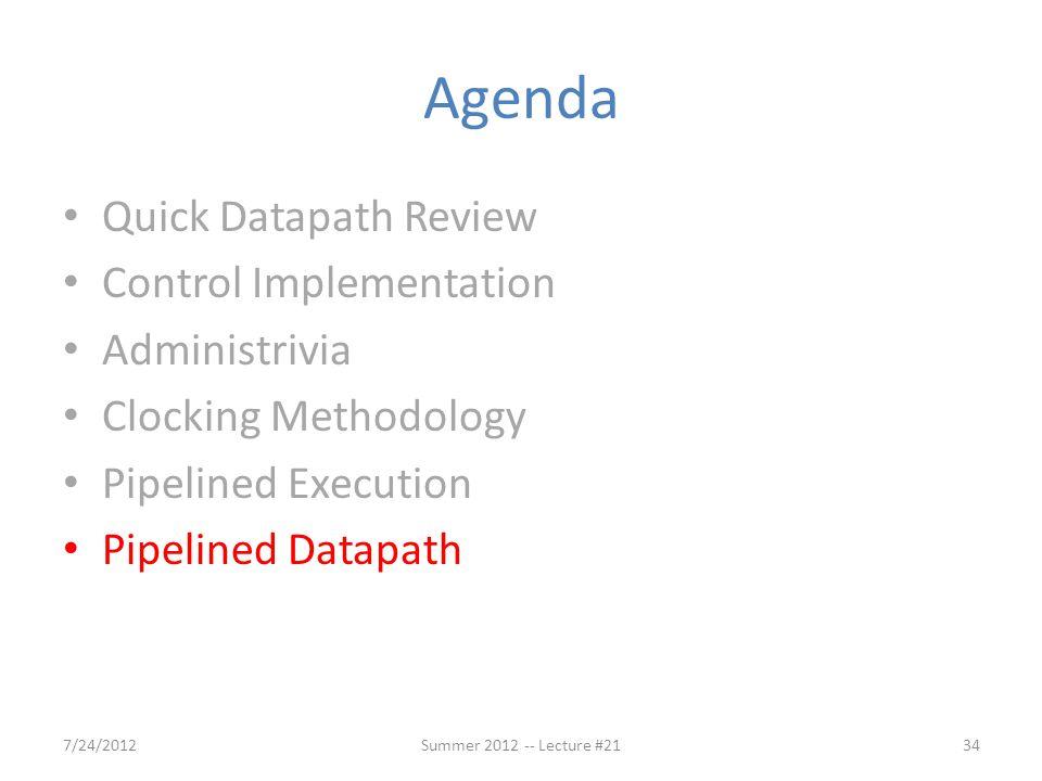 Agenda Quick Datapath Review Control Implementation Administrivia