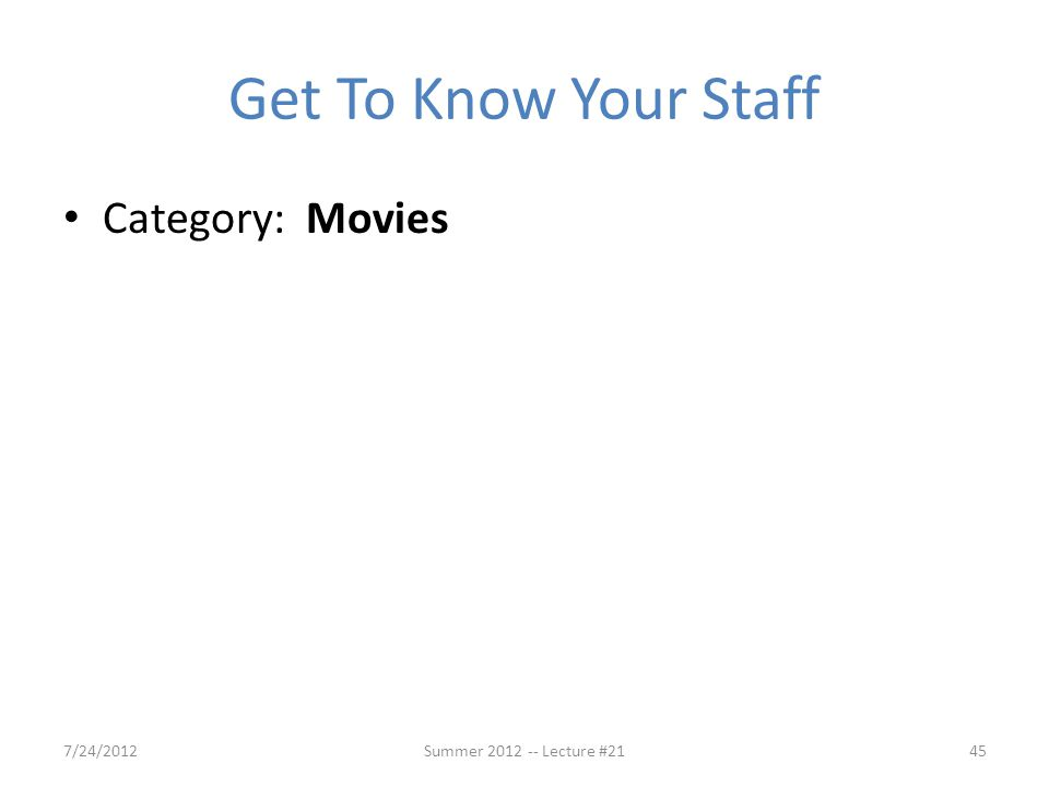 Get To Know Your Staff Category: Movies 7/24/2012
