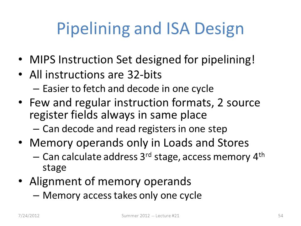Pipelining and ISA Design