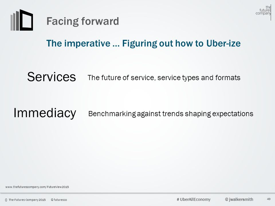 Services Immediacy Facing forward