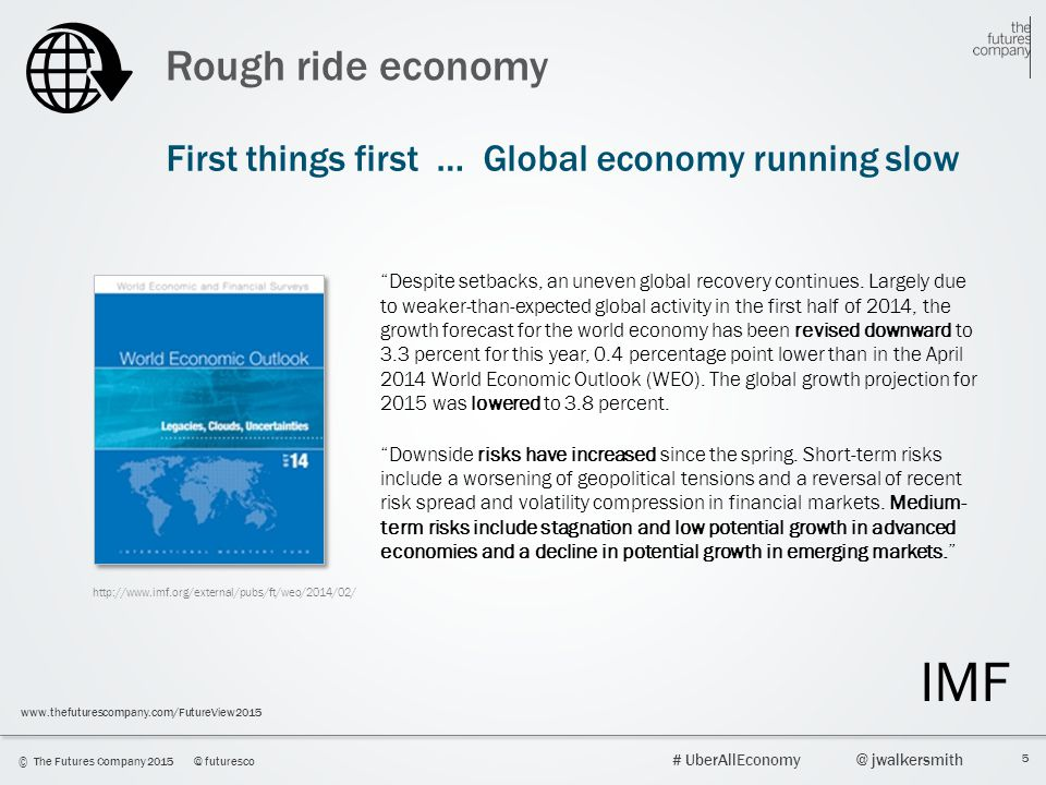 Rough ride economy First things first … Global economy running slow.