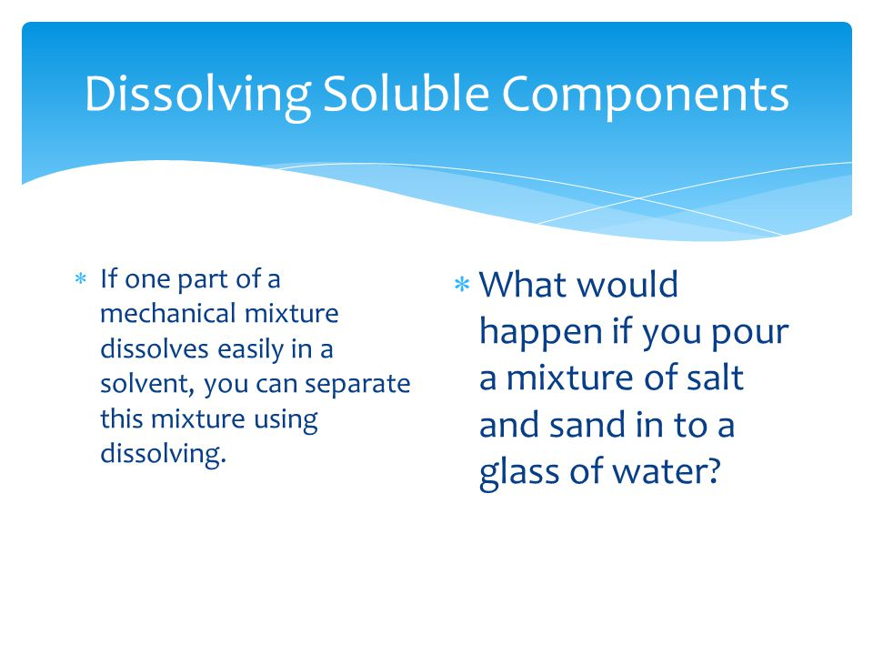 Dissolving Soluble Components