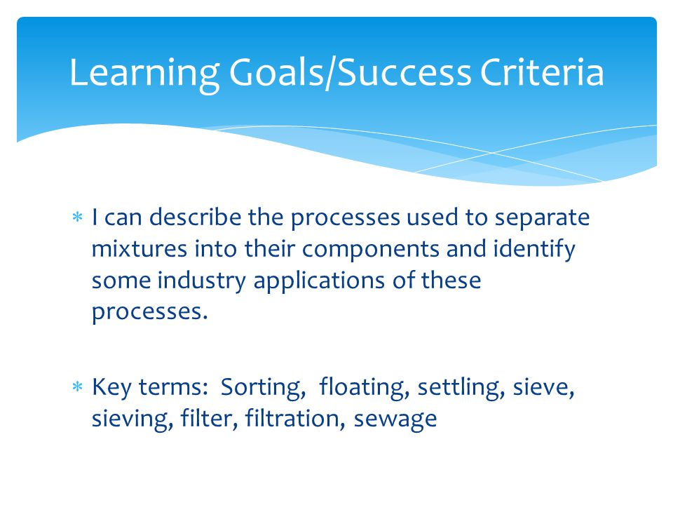 Learning Goals/Success Criteria
