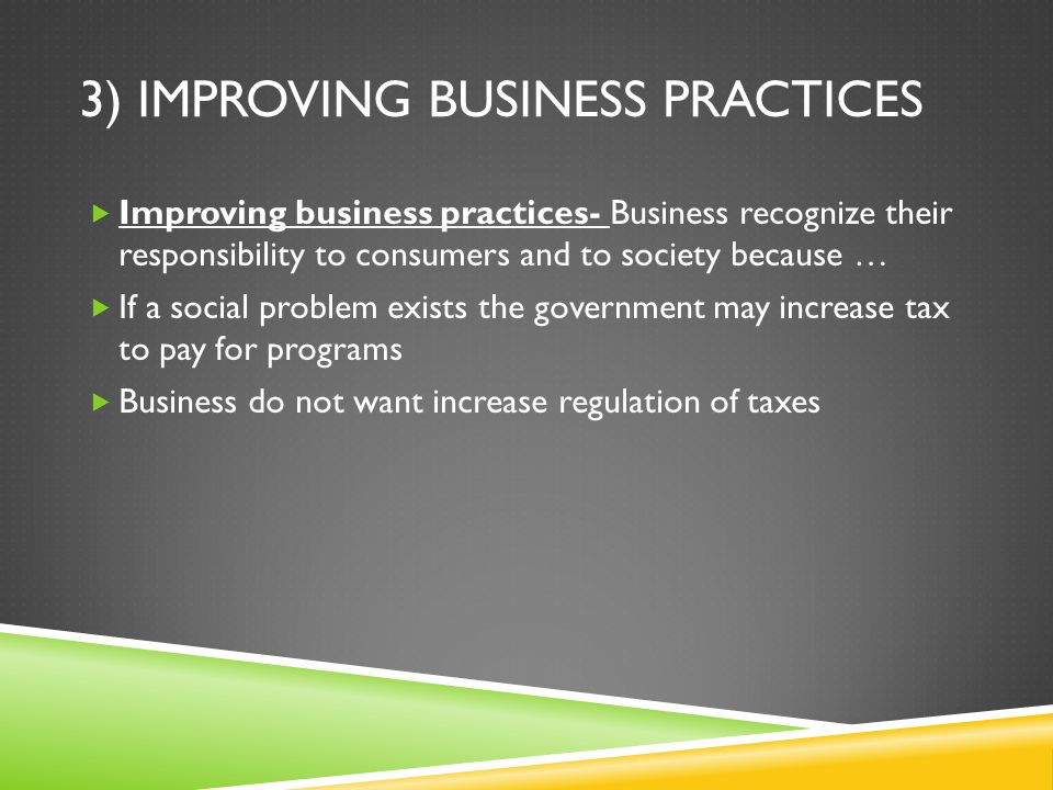 3) Improving business practices