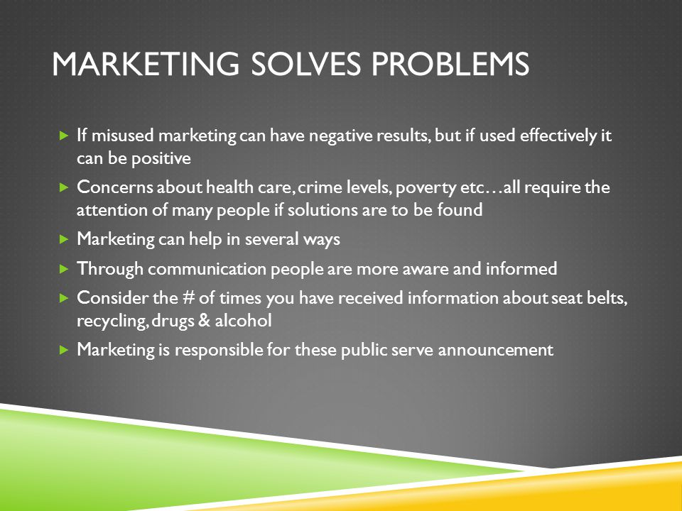Marketing solves problems